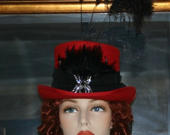 Kentucky Derby Hat Victorian Hat Steampunk Hat Gothic Hat Ascot Hat Top Hat Women's Red & Black Hat - All Hallows Eve