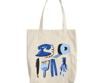 Blue Things Cotton Tote Bag by Haley Tippmann