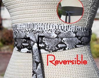 REVERSIBLE 2 sides of Leather - Obi Wrap Sash Belt - Black + White python snake print - custom • bespoke - XS S M L XL petite or plus size
