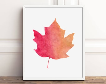 Fall Decor PRINTABLE Wall Art, Fall Leaves Prints, 8x10 Art Print, Instant Download, Autumn Leaves, Maple Leaf, Wall Art, Sign