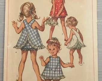 Simplicity 8165 Criss Crossed Top Bloomers Childs Toddler Size 1/2 One Half Vintage 1960s Sewing Pattern