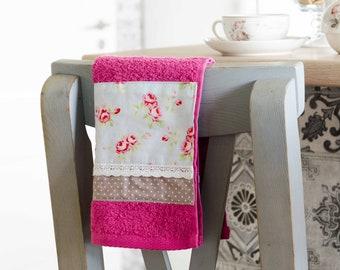 SET of 2 Handmade towel / Roses tea towel / Pink tea towel / Floral Tea towel / Shabby Chic towel / Cotton Kitchen Terry Tea towel