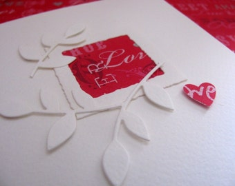 True Love 3D Creamy Ivory Card with Fuschia Red. Engagement, Love, Wedding, Anniversary, Romance