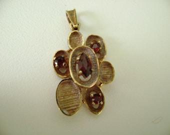 14k yellow gold garnet pendant, 14k gold mid century modern garnet pendant, garnet pendant, modernist garnet pendant, 14k yellow gold