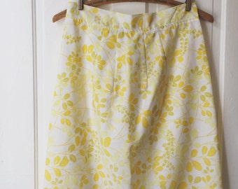 White and Yellow Floral Skirt