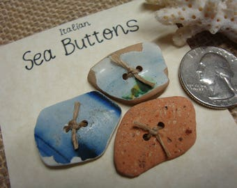 Italian sea buttons-Sea pottery buttons DIY-handmade buttons-Fashion accessories-Sea pottery Buttons-knitting-Handmade in Italy