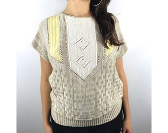 1970s taupe and yellow knit top by KENETH TOO!