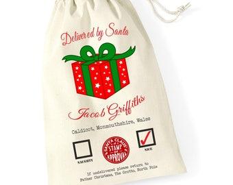 Personalised Present Christmas Santa Sack Reindeer Xmas Present Stocking Drawstring Keepsake Tumblr Pintrest