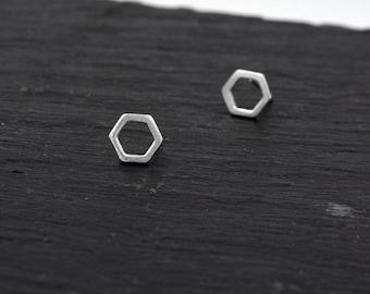 Sterling Silver Open Hexagon Stud Earrings ,Textured Finish, Minimalist Geometric Jewellery  H40