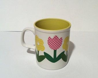 Vintage 1980s Enesco Marimekko like Yellow Tulip Mug, Made in Japan