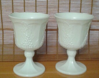 Milk Glass Goblet, Harvest Grape design by Indiana Glass Co.