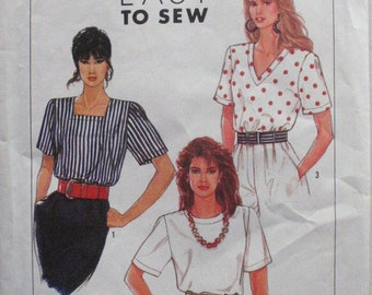 Misses Pullover Top Pattern - Square Neck Top, V Neck Top, Jewel Neck Top - Simplicity 9587 - Sizes 6 - 14, Bust 30 1/2 - 36 - Uncut