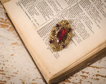 Brooch vintage Red rhinestone, oval brass filigree brooch, victorian red brass brooch, antique victorian jewelry,  red gift wife Christmas,