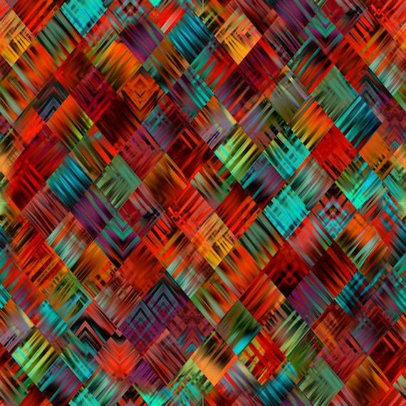 Artist Made Super Soft Minky Fabric Fiber Art Mixed Media FabricRed Aqua Blue Orange Craft Blanket