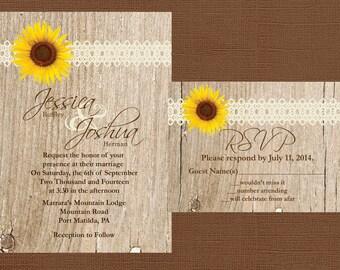 DIY Rustic Wedding Invitation, DIY Sunflower Wedding Invitation, Lace Wedding Invitation, Western Wedding Invitation Wood Wedding Invitation