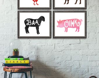 Printable Farm Animal Nursery Print, Pig Cow Rooster Lamb, Oink Moo Baa Cluck, Instant Download, Farm Nursery Decor, Farm Animal Nursery Art