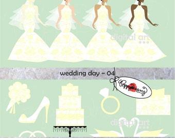 Wedding Day 04: Clip Art Pack (300 dpi transparent png) Wedding Bride Bridal Shower Dress Wedding Cake Bouquet