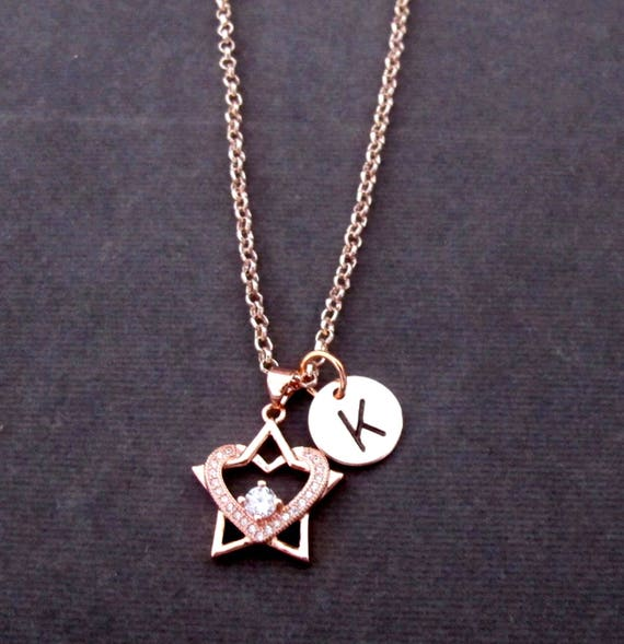 Rose Gold Heart Necklace,Rose Gold Star Pendant Necklace,Personalized Heart & Star,Rose Gold Necklace,Monogram Jewelry, Free Shipping In USA