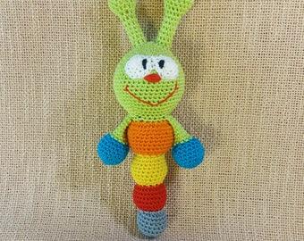 Crochet caterpillar rattle/cute caterpillar/baby teething rattle/crochet rattle toy/teething baby rattle/rainbow rattle/infant rattle