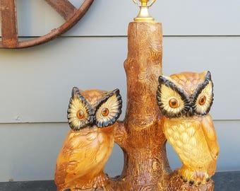 Wonderful Vintage Owl Lamp, Made By SNS Co. Table Lamp, Plaster/Chalkware,