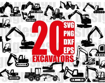 EXCAVATOR SVG, exacavator construction vehicle, digger vehicle, digger svg, printable, cuttable, clipart, for cricut, for silhouette, png