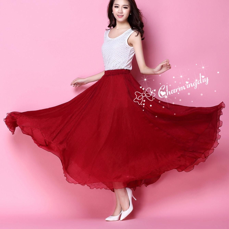 Gasa color vino rojo largo fiesta falda noche boda ligero
