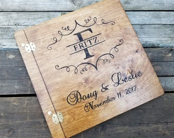 Personalized wooden wedding guest book, wood guestbook, custom monogram guest book, Large birch guestbook, custom wedding scrapbook
