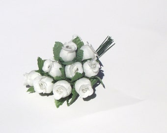 Small Artificial Rose Flower....12 white  dozen leaves silk flowers supplies bendable wire home decor wedding crafts accessories