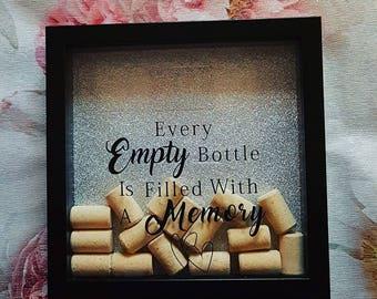 Cork memory frame, celebration, gift, wine, champagne, rose gold, friendship, box frame with slot.