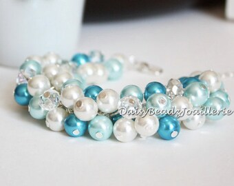 Blue and Ivory Bracelet Turquoise and Ivory Crystal Pearl Cluster Bracelet Earrings Bridesmaid Bracelet Shades of Blue Chunky Bacelet
