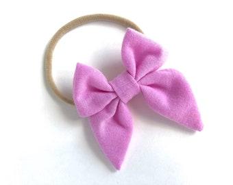 Lilac pink baby headband - baby headband, nylon headband, baby girl headband, newborn headband, baby headbands, baby bows, fabric hair bow