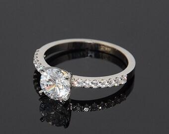 White gold ring, Swarovski ring, Engagement ring, Unique engagement ring, White engagement ring, White stone ring, Elegant ring