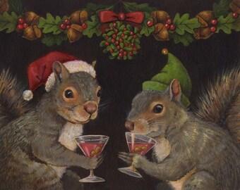 Christmas Squirrel Print, Santa Squirrel Portrait, Squirrel Art, Animal Portrait, Anthropomorphic, Squirrel Lover Gift, Animal Lover Gift