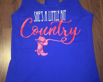 Womans racerback country tank top, she's a little country, red white and blue, america