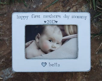 Happy First mother's day frame Personalized mother's day gift mother mom mama Custom Happy mothers day Picture frame gift moms gift idea