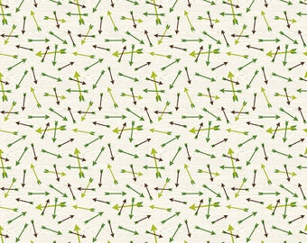 SALE The Great Outdoors Arrows Cream - Riley Blake Designs - Green Hunting - Quilting Cotton Fabric - choose your cut