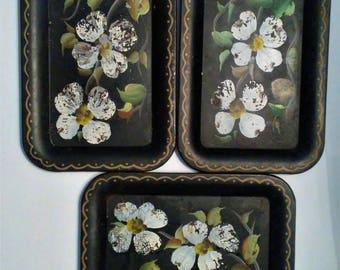 Vintage Nashco Hand Painted Shabby Chic Snack serving tray