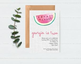 Watermelon Invite - summer party - girls party invite - tropical invite - custom invite - fruit invitation - Watermelon Invitation -