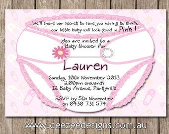Nappy Diaper Personalised Baby Shower Invitations - YOU PRINT