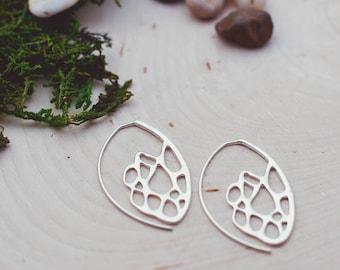 Sterling Silver Cactus Hook Earrings, Cactus Hoop Earrings, Prickly Pear Earrings, Botanical Earrings, Desert Jewelry, Southwest Earrings