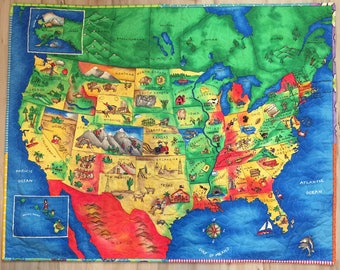 USA Map Quilt Wallhanging Napmat Kid's Quilt I Spy Educational