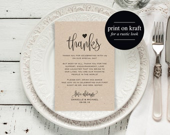 Wedding Thank You Cards, Thank You Printable, Editable Template, Kraft Printable, DIY, Printable Template, PDF Instant Download #BPB203_14