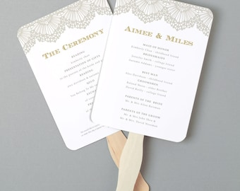 Instant Download   DIY Wedding Program Fan Template - Lace - Editable Colors   Mac or PC   Word & Pages   5x7