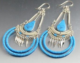 Turquoise Earrings Turquoise Jewelry Boho Earrings Gift For Her dangle earrings silver earrings december birthstone drop earrings