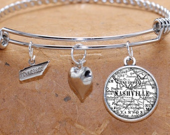 Nashville Tennessee Charm Bracelet Antique Map State TN Bangle Cuff Bracelet Vintage Map Jewelry Stainless Steel Bracelet Gifts For Her