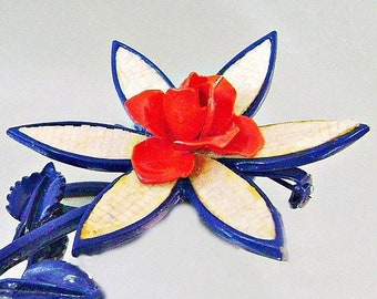 BIG SALE Vintage Red White Blue Flower Brooch. Mod Flower Power Pin. Red White and Blue Rose Brooch.