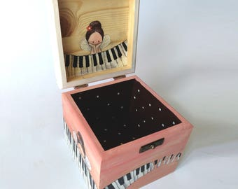 Christmas gift box piano, Wooden box with name, fairy box, personalized fairy box, fairy gift box, gift for piano girl, piano christmas gift
