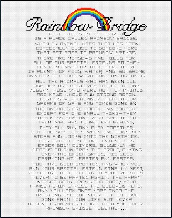Rainbow Bridge Poem Essay Sentiment for Pet Loss or Memorial
