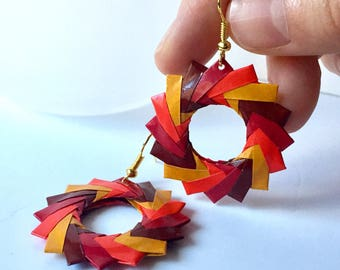 Fall Earrings // Origami Earrings // Red and  Gold Hoop Earrings // Holiday Jewelry // Gifts for Her