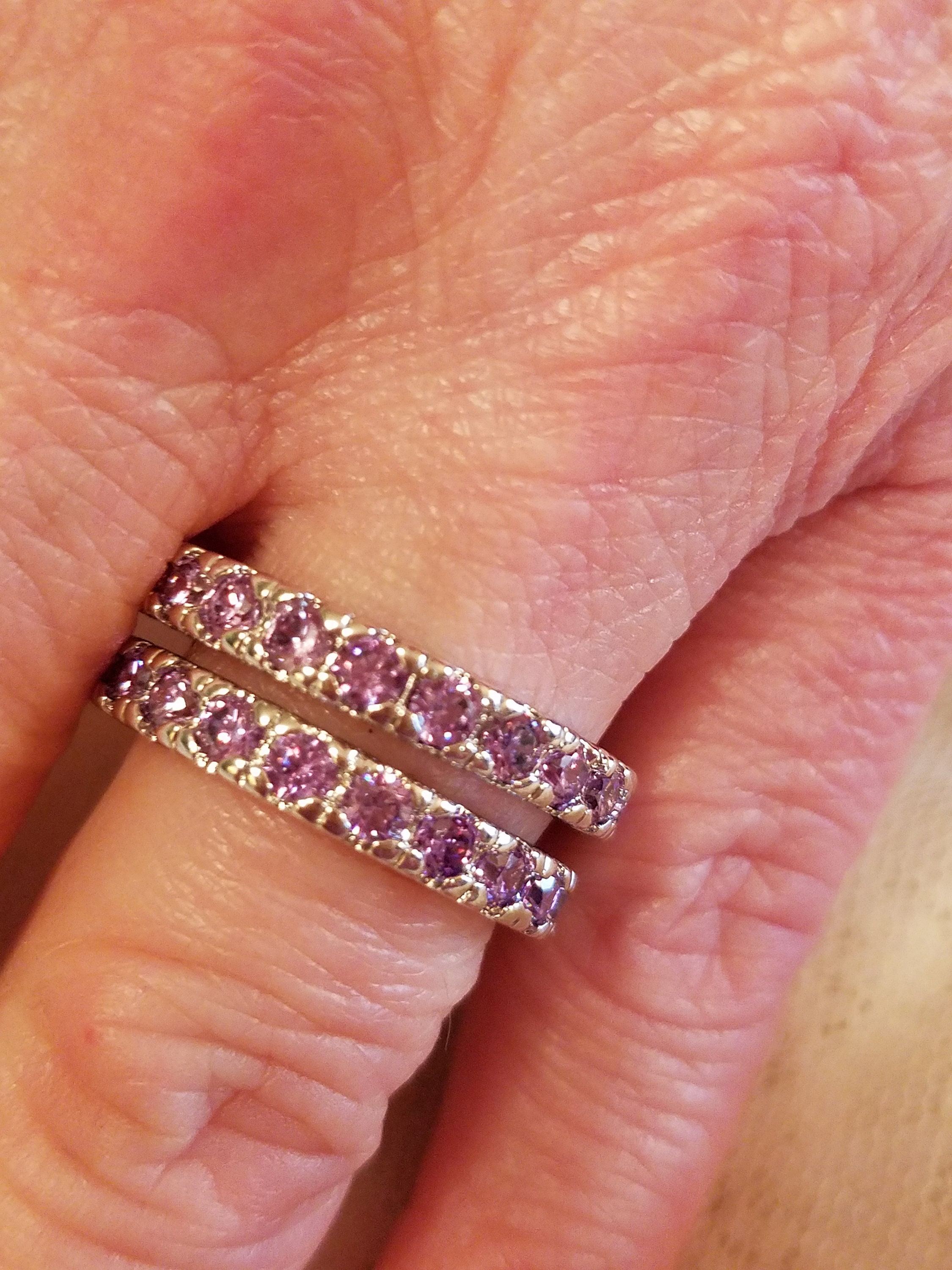 Set of 2 Amethyst Gemstone Eternity Bands / Rings Sterling